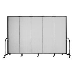 """6' H Vinyl Freestanding Portable Partition - 5 Panels (9' 5"""" L) - Granite"""