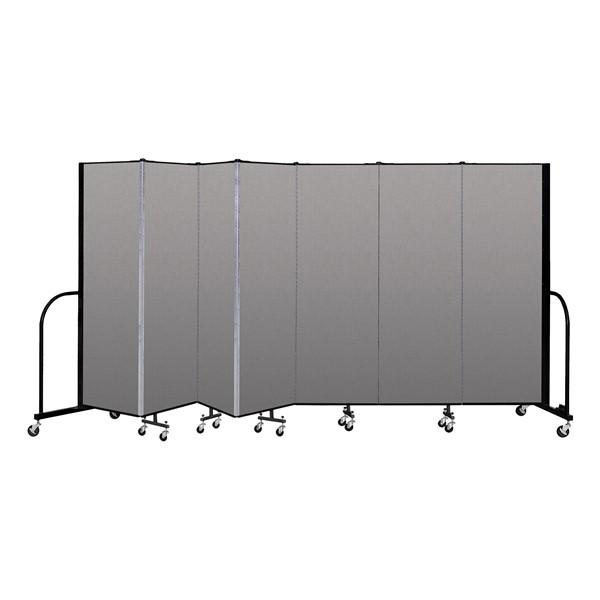 """6' H Vinyl Freestanding Portable Partition - 7 Panels (13' 1"""" L) - Granite"""