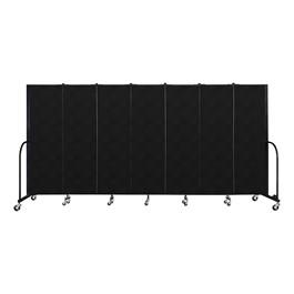 """6\' H Vinyl Freestanding Portable Partition - 7 Panels (13\' 1\"""" L) -Coal"""