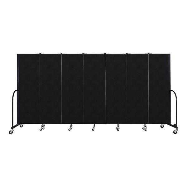 """6' H Vinyl Freestanding Portable Partition - 7 Panels (13' 1"""" L) -Coal"""