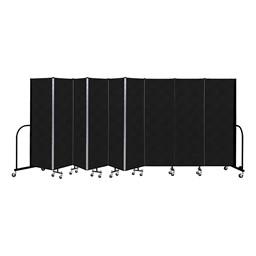 """6' H Vinyl Freestanding Portable Partition - 9 Panels (16' 9"""" L) - Coal"""