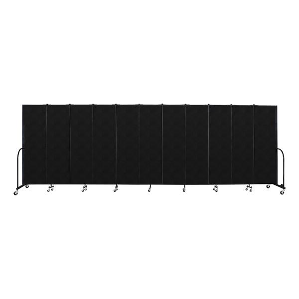 """6' 8"""" H Vinyl Freestanding Portable Partition - 11 Panels (20' 5"""" L) - Coal"""