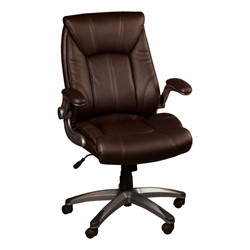 Executive Chair w/ Flip-Up Arms - Brown