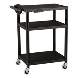 Adjustable-Height Plastic AV Cart w/ Power