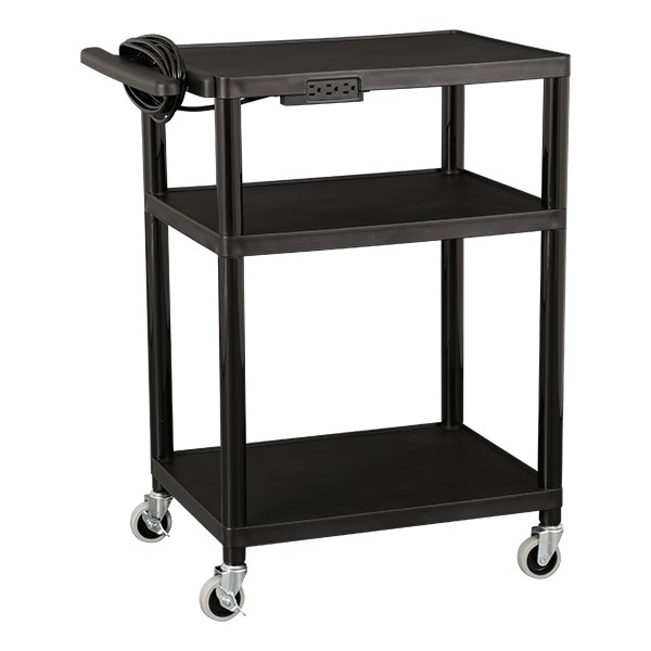 Adjustable-Height Plastic AV Cart w/ Power
