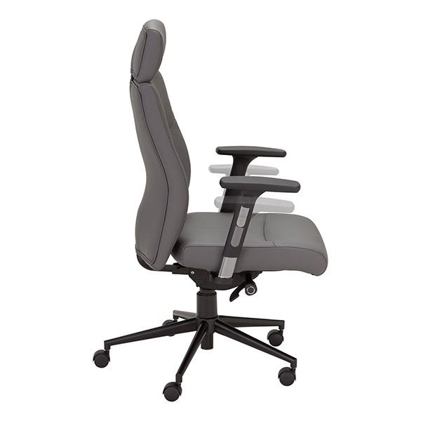 Ergonomic Multi-Adjustable Executive Chair - Gray - Arm Adjustment