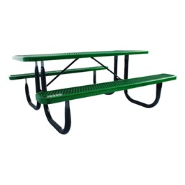 Rectangle Picnic Table w/ Diamond Expanded Metal (6\' L) - Green