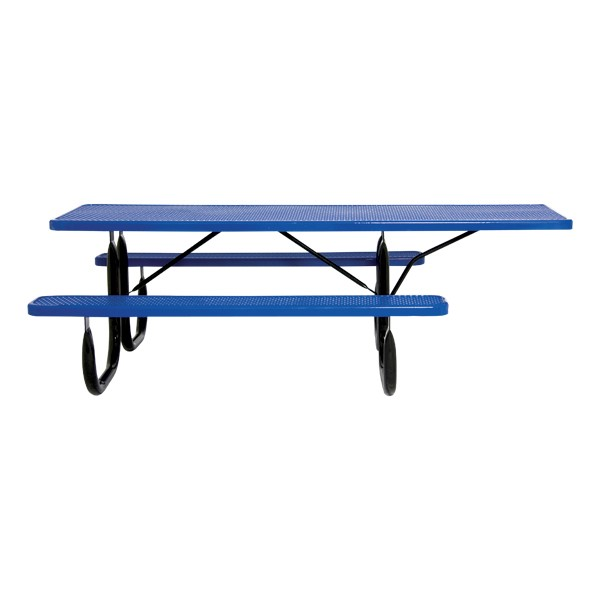 ADA Single-Sided Heavy-Duty Rectangle Picnic Table w/ Round Perforations (8' L)