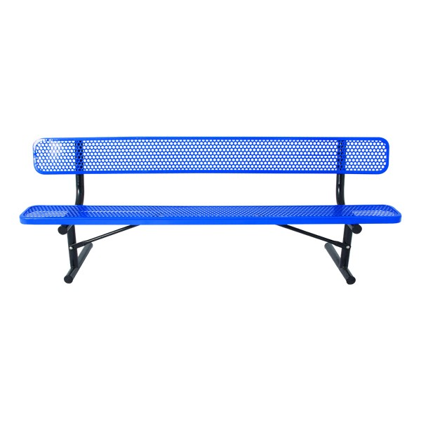 Heavy-Duty Park Bench w/ Back - Round Perforations - Portable (8' L)
