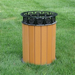 Recycled Plank Outdoor Trash Can w/ Liner