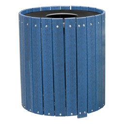 Recycled Plank Outdoor Trash Can w/ Flat Top Lid - shown in blue
