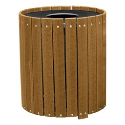 Recycled Plank Outdoor Trash Can w/ Flat Top Lid - shown in cedar