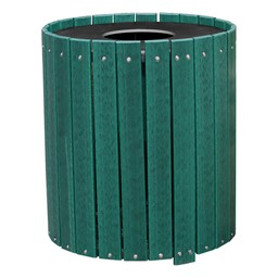 Recycled Plank Outdoor Trash Can w/ Flat Top Lid - shown in green