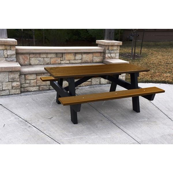 Recycled Plastic Picnic Table - 6' Brown