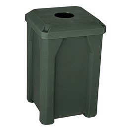 """Square Plastic Recycling Bin w/ Liner (4\"""" Opening) - Green"""