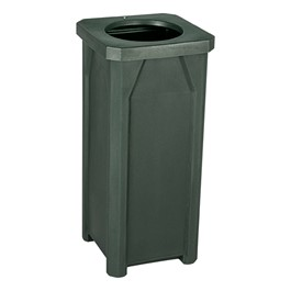 Open Flat Top Plastic Trash Can w/ Liner - Green