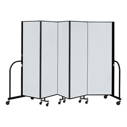6' H Magnetic Whiteboard Tackable Portable Partition - 5 Panels