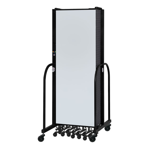 6' H Magnetic Whiteboard Tackable Portable Partition - Folded
