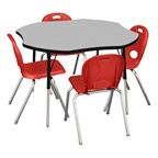 Clover Adjustable-Height Activity Table & Structure Series School Chair Set – 1 Table/4 Chairs