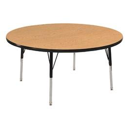 """30\"""" Round Oak Adjustable-Height Activity Table"""