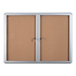 Cork Bulletin Enclosed Cabinet w/ Aluminum Frame