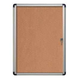 Cork Bulletin Slim Line Enclosed Cabinet w/ Single Door