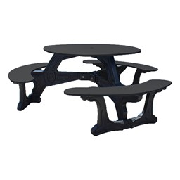Decorative Round Recycled Plastic Picnic Table w/ Three Benches - Black