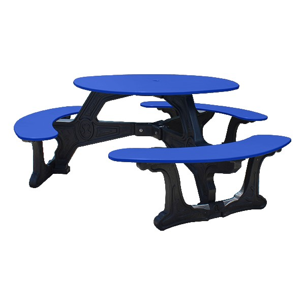 Decorative Round Recycled Plastic Picnic Table w/ Three Benches - Blue