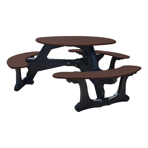 Decorative Round Recycled Plastic Picnic Table w/ Three Benches - Brown