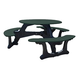 Decorative Round Recycled Plastic Picnic Table w/ Three Benches - Forest Green
