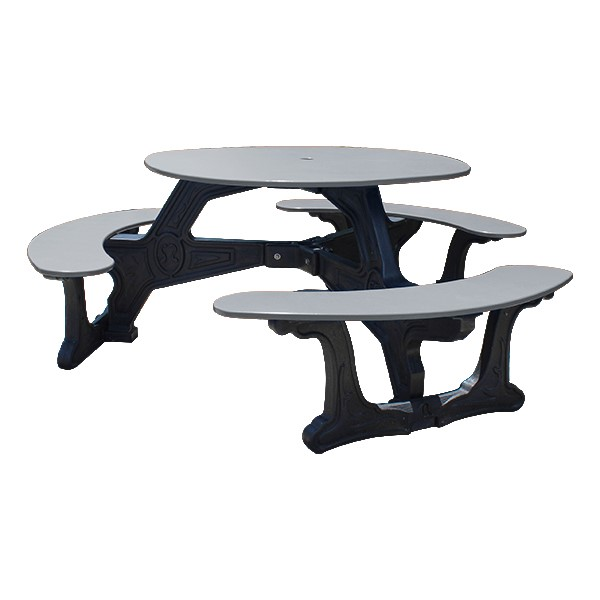 Decorative Round Recycled Plastic Picnic Table w/ Three Benches - Gray