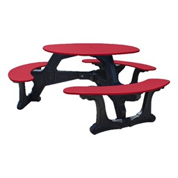 Decorative Round Recycled Plastic Picnic Table - Red