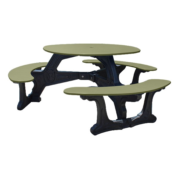 Decorative Round Recycled Plastic Picnic Table w/ Three Benches - Sage