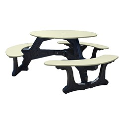 Decorative Round Recycled Plastic Picnic Table w/ Three Benches - Sand