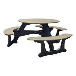Decorative Round Recycled Plastic Picnic Table w/ Three Benches - Tan