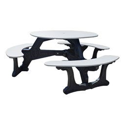 Decorative Round Recycled Plastic Picnic Table w/ Three Benches - White