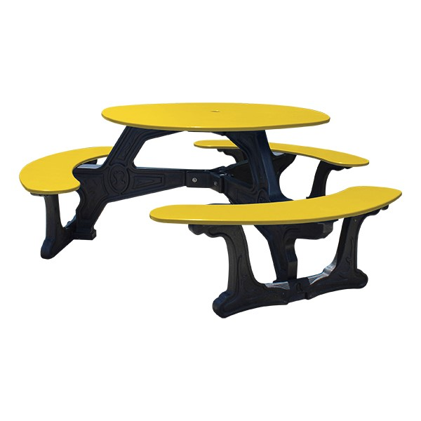 Decorative Round Recycled Plastic Picnic Table w/ Three Benches - Yellow