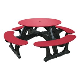Decorative Round Recycled Plastic Picnic Table w/ Four Benches - Red