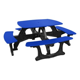 Decorative Square Recycled Plastic Picnic Table - Blue