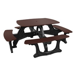 Decorative Square Recycled Plastic Picnic Table - Brown