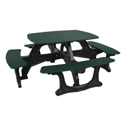 Decorative Square Recycled Plastic Picnic Table - Forest Green