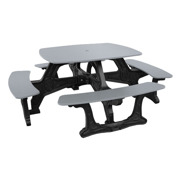 Decorative Square Recycled Plastic Picnic Table - Gray