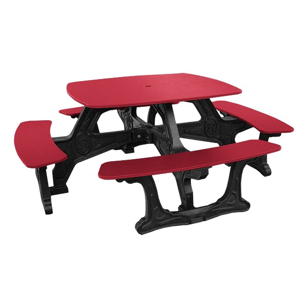Decorative Square Recycled Plastic Picnic Table - Red
