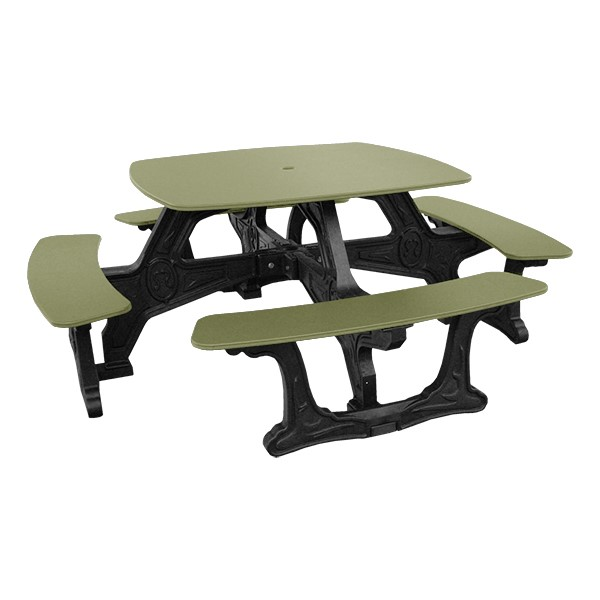 Decorative Square Recycled Plastic Picnic Table - Sage