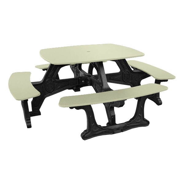 Decorative Square Recycled Plastic Picnic Table - Sand