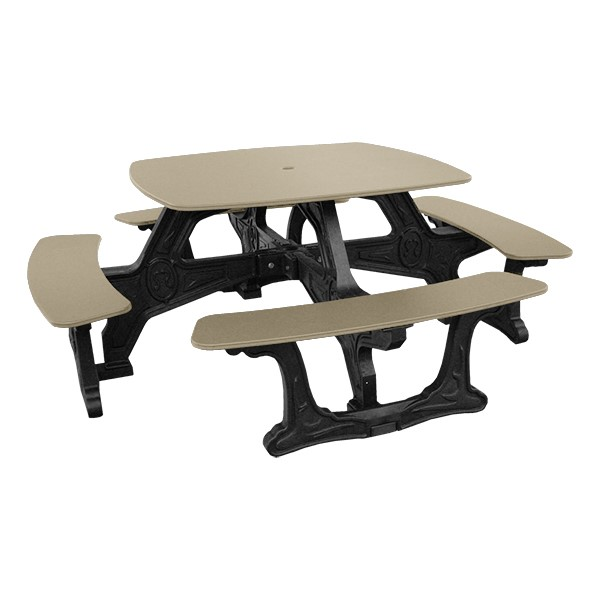 Decorative Square Recycled Plastic Picnic Table - Tan