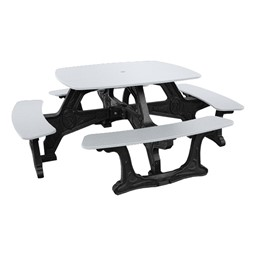 Decorative Square Recycled Plastic Picnic Table - White