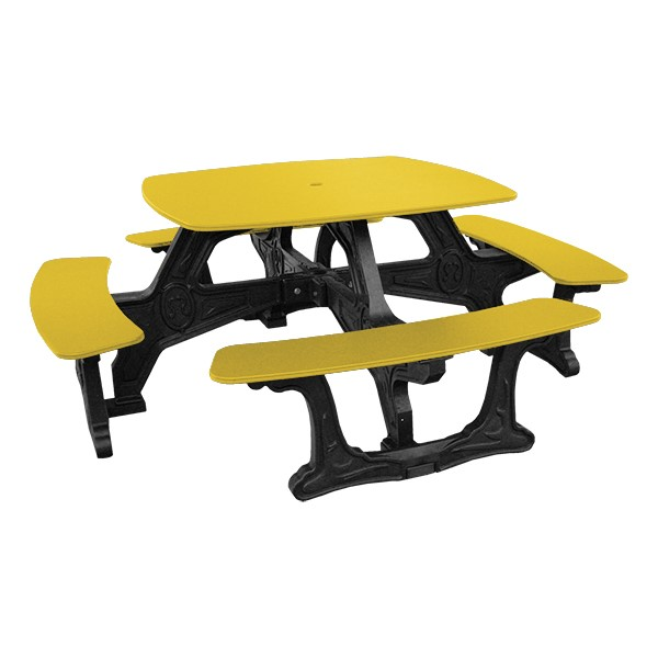 Decorative Square Recycled Plastic Picnic Table - Yellow