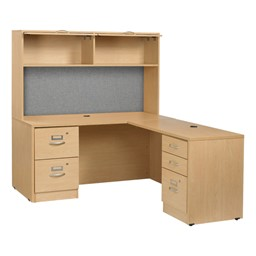 Norwood Series L-Shaped Workstation w/ Flipper Hutch