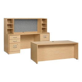 Norwood Series Desk w/ Credenza and Open Hutch